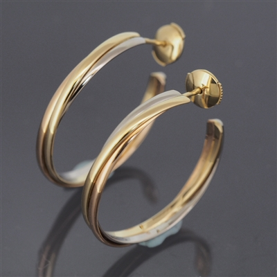 Cartier Trinity Post Hoop Earrings 3 Gold