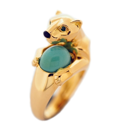 Cartier Panther Vedra Turquoise Ring Yellow Gold
