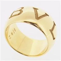 BVLGARI 18K YELLOW GOLD MONO LOGO RING SIZE 52 US 5.5 WITH BOX
