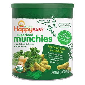 Superfood Munchies Broccoli, Kale & Cheddar Cheese 6 pack - 1.63 oz. (Happy Baby)