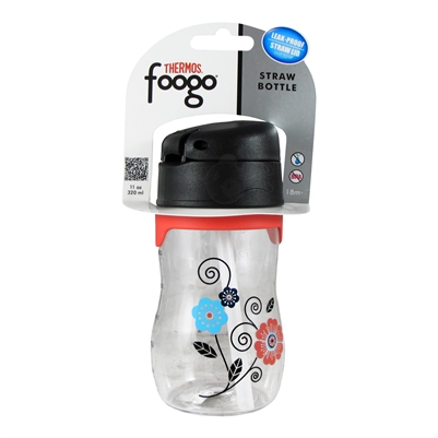 Foogo Plastic Straw Bottle Poppy Patch - 11 oz. (Thermos)