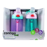 Kids Autospout Water Bottle 2 Pack Purple & Green - 14 oz. (Contigo)