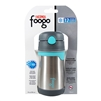 Foogo Vacuum Insulated Straw Bottle Charcoal and Teal - 10 oz. (Thermos)