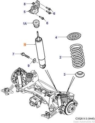 **FREE GROUND SHIPPING** Genuine Saab 9-3 AWD Sport Combi Rear Shock ('08-'10)