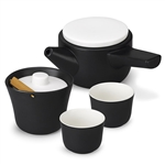 po: black evo song tea set with white lids