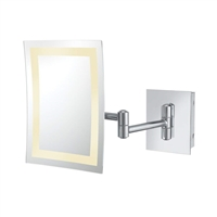 APTATIONS - SINGLE-SIDED LED LIGHTED RECTANGULAR MAGNIFIED MAKEUP WALL MIRROR - CHROME