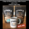 2 Bags of STACK'D Protein Coffee Creamer - Original Latte and a Free STACK'D Mug