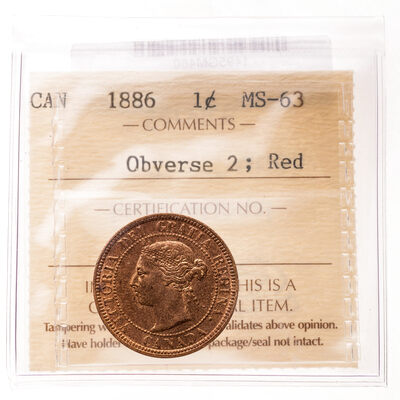 1 cent 1886 Red Obv 2 ICCS MS-63