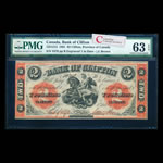 The Bank of Clifton $2 1861 Engr. 1 in date PMG CUNC-63