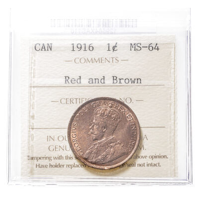 1 cent 1916  ICCS MS-64
