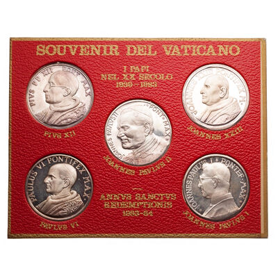 Vatican City 1984 -  The 5 Popes Silver Plated Medal Set