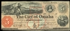 US $5 Obsolete 1857 Nebraska Territory Omaha City Non-Certified VF-20