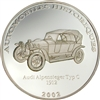 2002 10 Francs Historical Cars II: 1912 Audi Alpensieger (Congo) - Pure Silver Coin