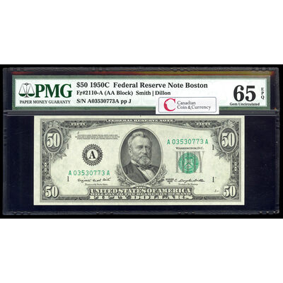 US $50 Federal Reserve Note 1950C Smith-Dillon Boston PMG GUNC-65