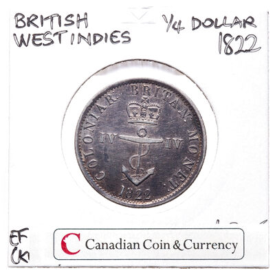 British West Indies 1/4 Dollar 1822 EF-40