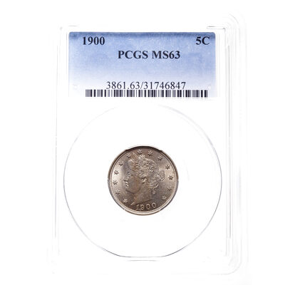 US 5 Cent 1900 Liberty Head Nickel PCGS MS-63