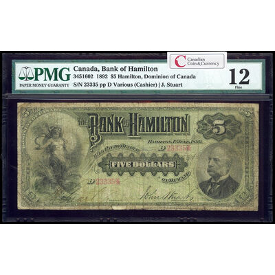 The Bank of Hamilton $5 1892 engr Cashier l. PMG F-12