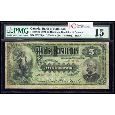 The Bank of Hamilton $5 1892 engr pro Cashier l. PMG F-15