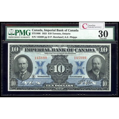 The Imperial Bank of Canada $20 1923 Howland, l. PMG VF-30