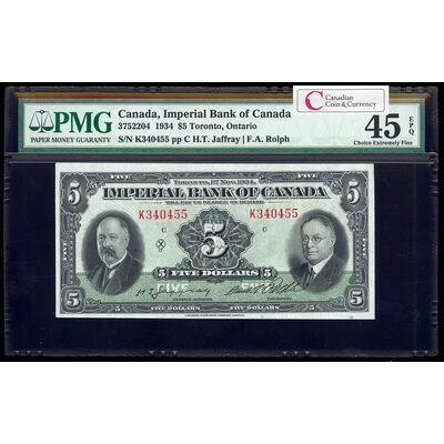 The Imperial Bank of Canada $5 1934 Jaffray l. PMG EF-45