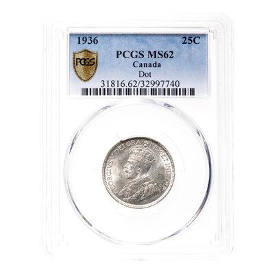 25 cent 1936 Dot PCGS MS-62
