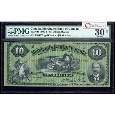 The Merchants Bank of Canada $10 1906  PMG VF-30
