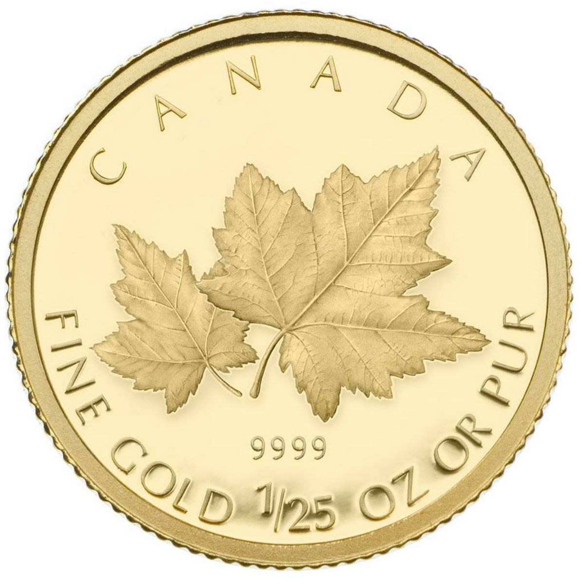 50c 2009 1 25 Oz Gold Coin Red Maple Royal Canadian