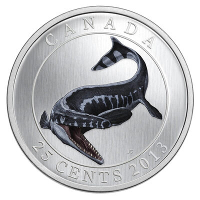 25c 2013 Coloured Coin - Prehistoric Animals - Tylosaurus Pembinensis