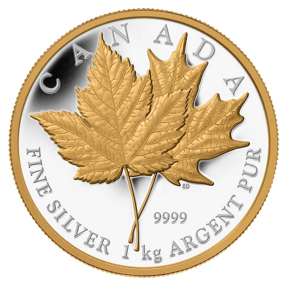 250 2013 Silver Coin With Selective Gold Plating Maple