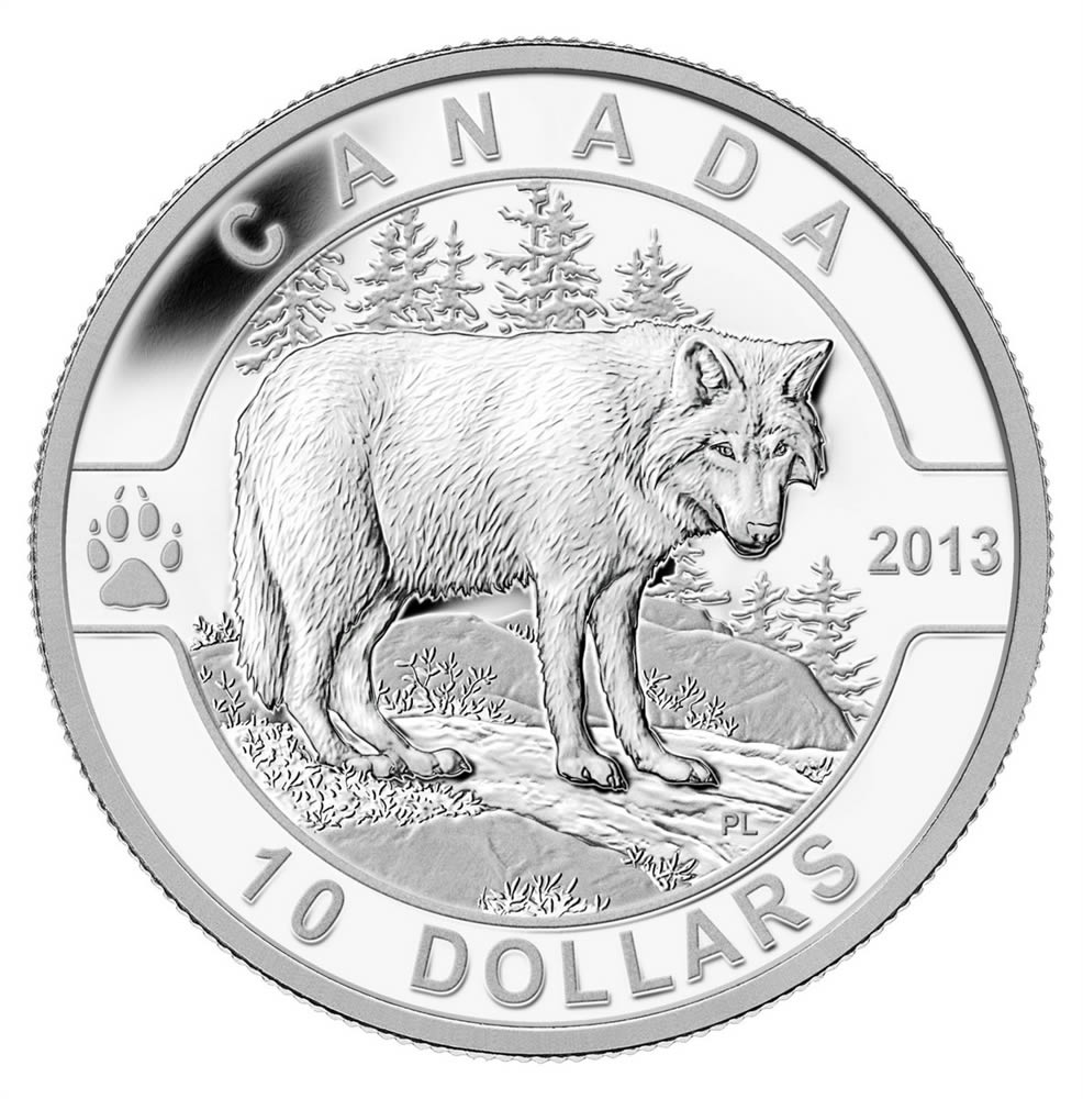 10 2013 Fine Silver Coin O Canada Series The Wolf