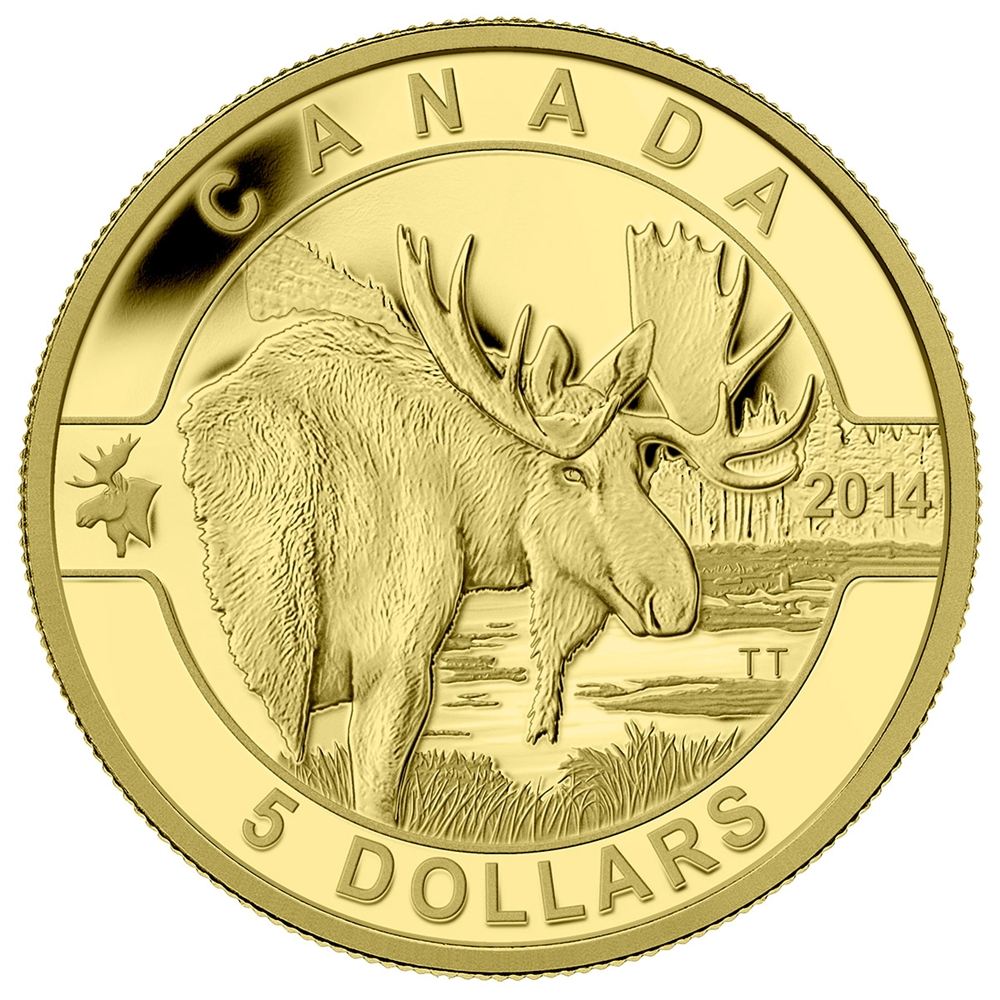 2014 5 Pure Gold Coin O Canada Moose Royal Canadian