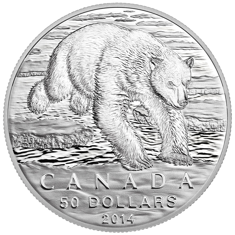 2014 50 Fine Silver Coin Iconic Polar Bear Royal