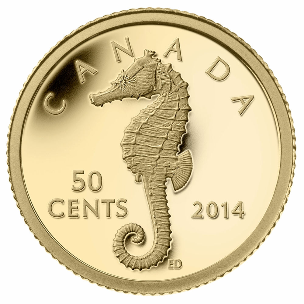 2014 50 Cent Pure Gold Coin Sea Creatures Seahorse
