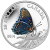 2014 $20 Fine Silver Coin - Butterflies of Canada - Red-Spotted Purple