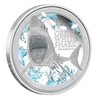 2012 $2 Ocean Predators: Great White Shark - 1 oz. Pure Silver Coin