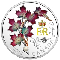 2018 $20 Queen Elizabeth II's Maple Leaves Brooch with Pearl - Pure Silver Coin