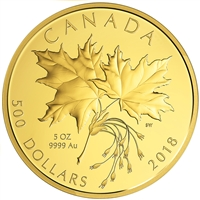 2018 $500 Maple Leaves - Pure Gold Coin