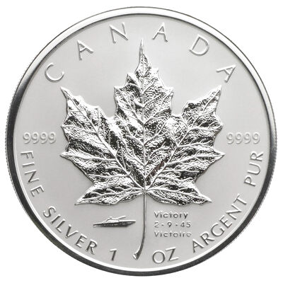 5 2005 1 Oz Silver Maple Leaf Privy Mark V J Day