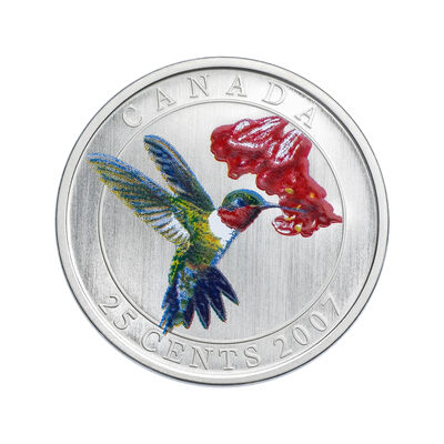 25c 2007 Colourised Coin - Ruby-Throated Hummingbird - Birds of Canada