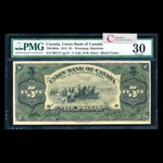 The Union Bank of Canada $5 1912 Black frame, Shaw r. PMG VF-30