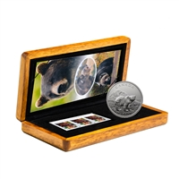 2011 $5 Grizzly Bear - 1 oz. Pure Silver Coin and Stamp Set