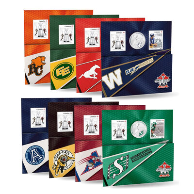 25c 2012 Cupronickel Coloured Coin & Stamp Set - CFL Team Pack