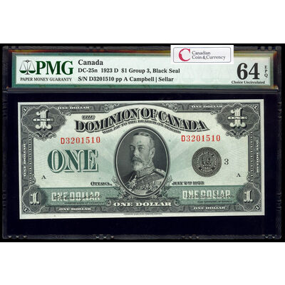 $1 1923 DC-25n Campbell-Sellar, Black seal.  Group 3. Campbell-Sellar Series D Prefix D PMG CUNC-64
