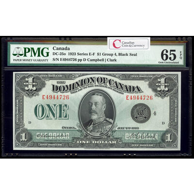 $1 1923 DC-25o Campbell-Clark, Black seal. Group 4. Campbell-Clark Series E Prefix E PMG GUNC-65