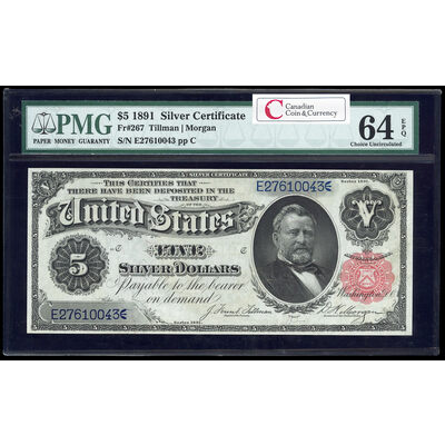 US $5 Silver Certificate 1891 Tillman-Morgan Small Red PMG CUNC-64