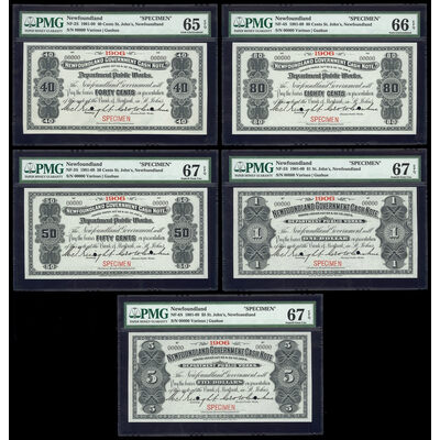 $5 1906 Specimen NF-6f Cash Note Set Knight-Gushue PMG GUNC-67