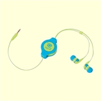 RETRAK Retractable Earbuds (Neon Blue/Yellow)