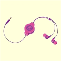 RETRAK Retractable Earbuds (Neon Pink/Purple)