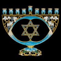 1023- Menorah, jeweled, star, 6.5""
