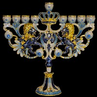 1032- Menorah, jeweled, blues, 7""